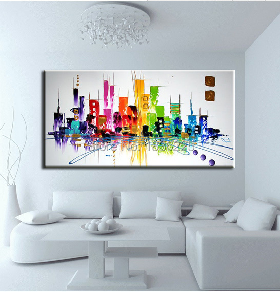 best sell abstract modern city landscapes oil painting on canvas 100% handmade building landscape oil painting for room decor