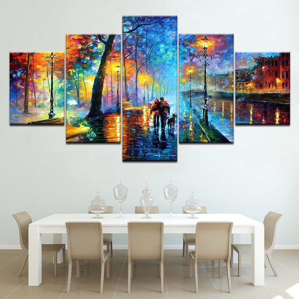Home Decor Wall Pictures Art HD Prints Poster 5 Pieces Watercolor Rainy City Abstract Street light Canvas Painting Framework