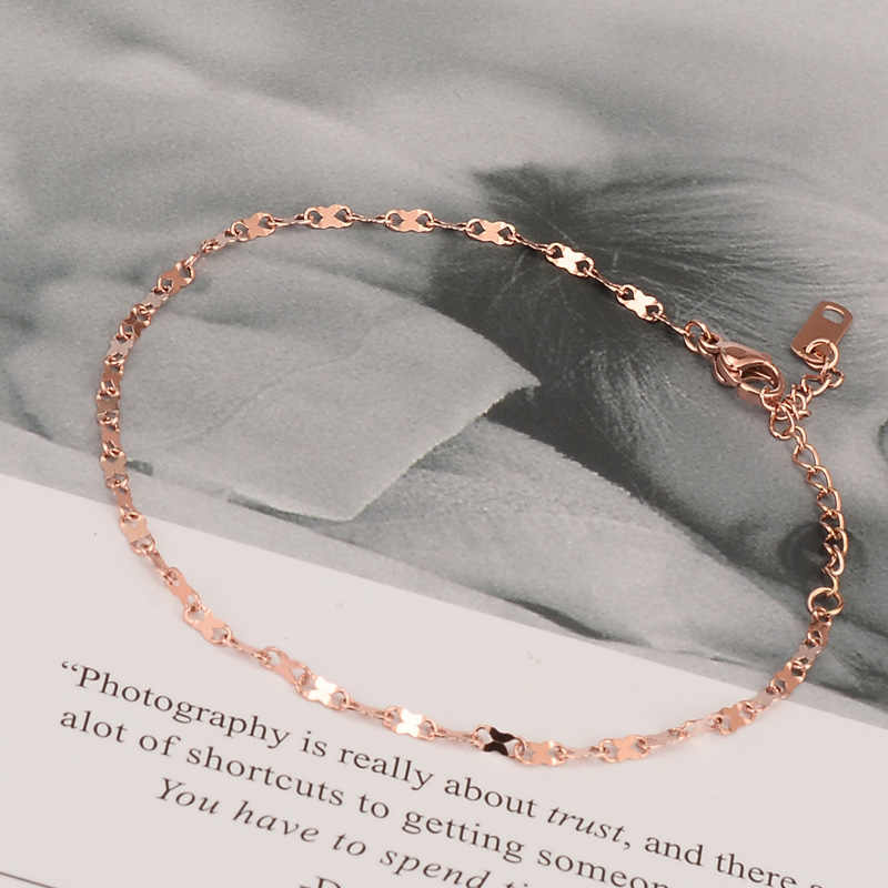 Fashion Rose Gold Color Anklet Women Number Shape Link Chains Ankle Bracelet Cheville Foot Jewelry Stainless Steel Never Fade