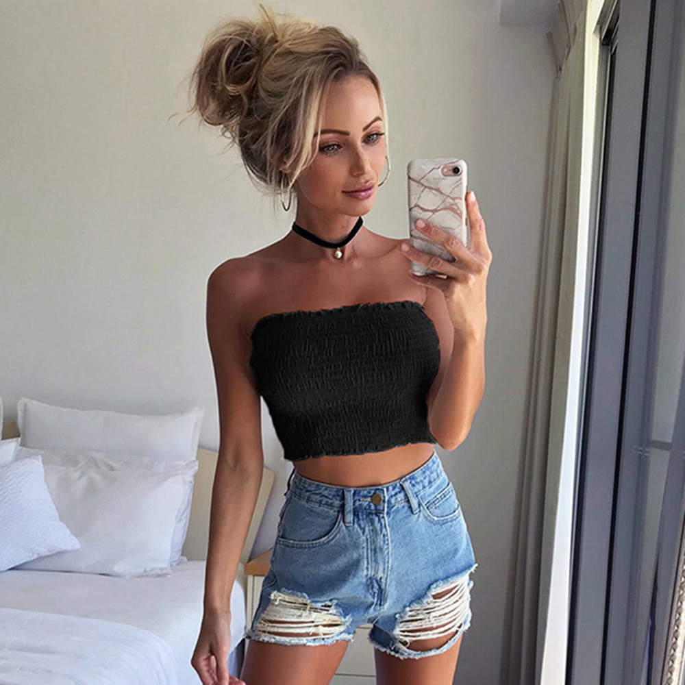 Women Strapless Elastic Boob Bandeau Tube Tops Lingerie Breast Wrap Camisole Crop Top