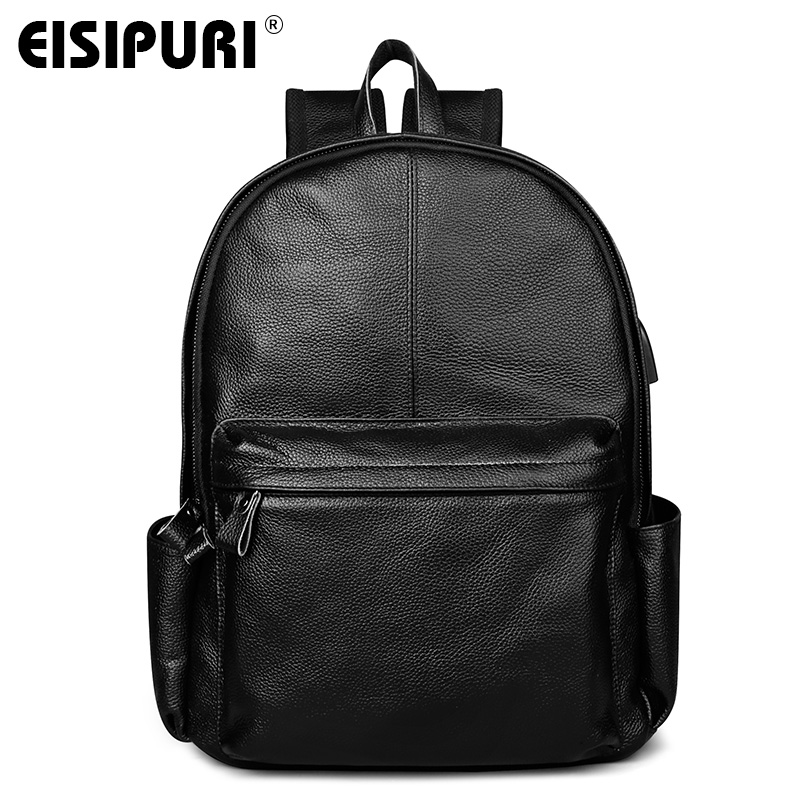 EISIPURI Luxury Brand Genuine Cow Leather Unisex Backpacks High Quality Solid Color Laptop Bag Large Capacity Mens Travel BagEISIPURI Luxury Brand Genuine Cow Leather Unisex Backpacks High Quality Solid Color Laptop Bag Large Capacity Mens Travel Bag