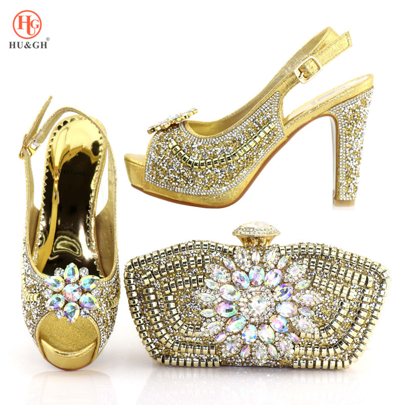 2018 New Nigerian Golden Color Women Shoes And Purse Set African Wedding High Heels 10.5CM Italian Shoes And Bag Set For Party new african elegant gold color shoes and bag to match set nigerian italian high heels party shoes and bag set for wedding dress