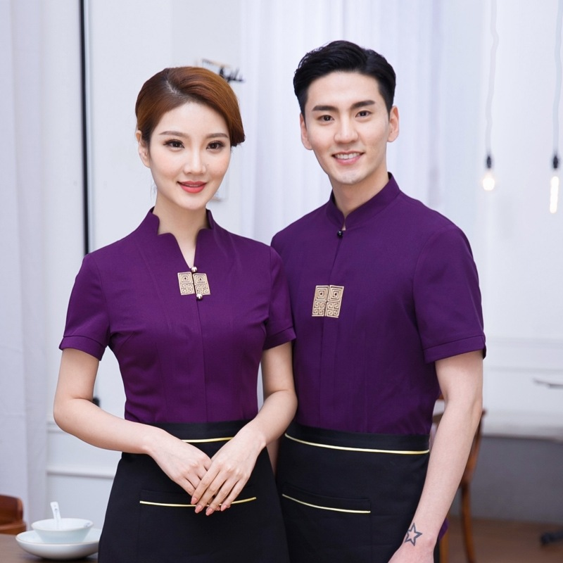 Women Restaurant Waiter Uniform Male Hotel Work Wear Men Food Service Waitress Jacket Coffe Shop Kitchen Overalls Work Wear 90