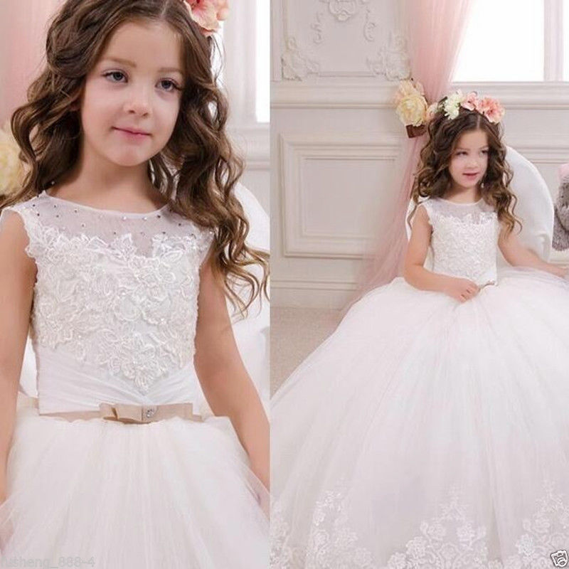 2017 Communion Party Prom Princess Pageant Bridesmaid Wedding Flower Girl Dress new year dresses for girls 2017 new flower embroidery girl dresses pageant party wedding bridesmaid ball gown prom princess long dress girl clothes