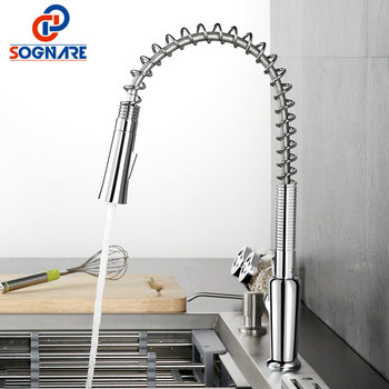 цена на Kitchen Tap Chrome Finished Spring Kitchen Faucet Water Tap Single Lever Sink Mixer Tap 360 Degree Rotation Kitchen Water Mixer