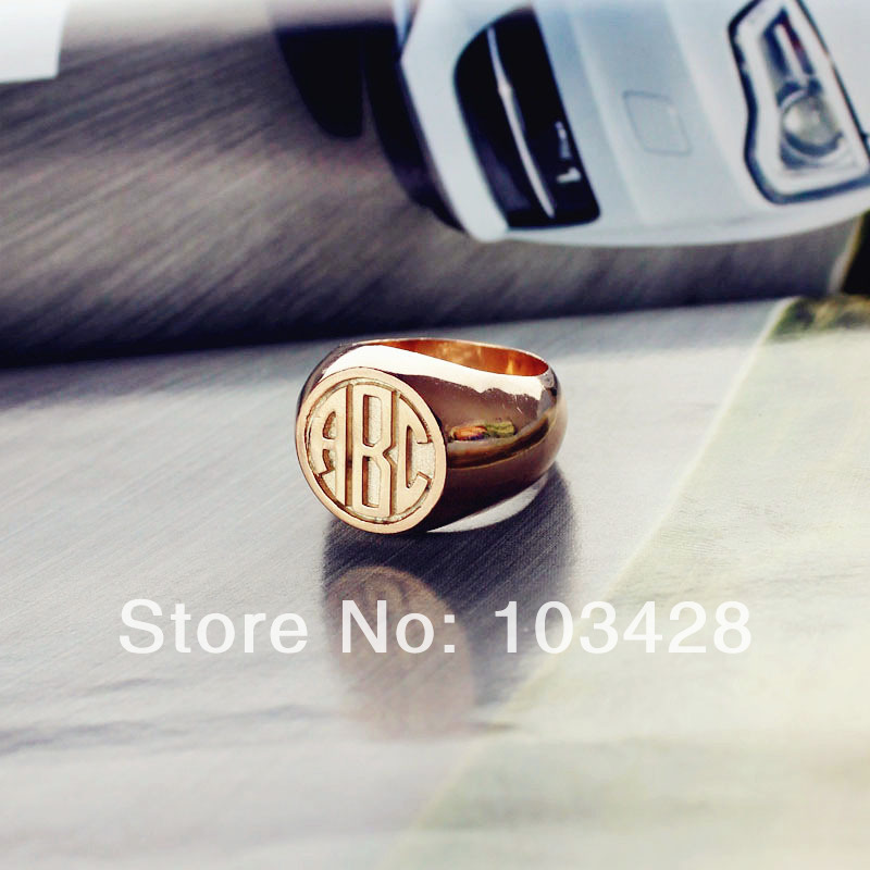 AILIN Monogram Rings Initials Engraved Rings Circle Block Rings Rose Gold Color Personalized Name Rings 0.59