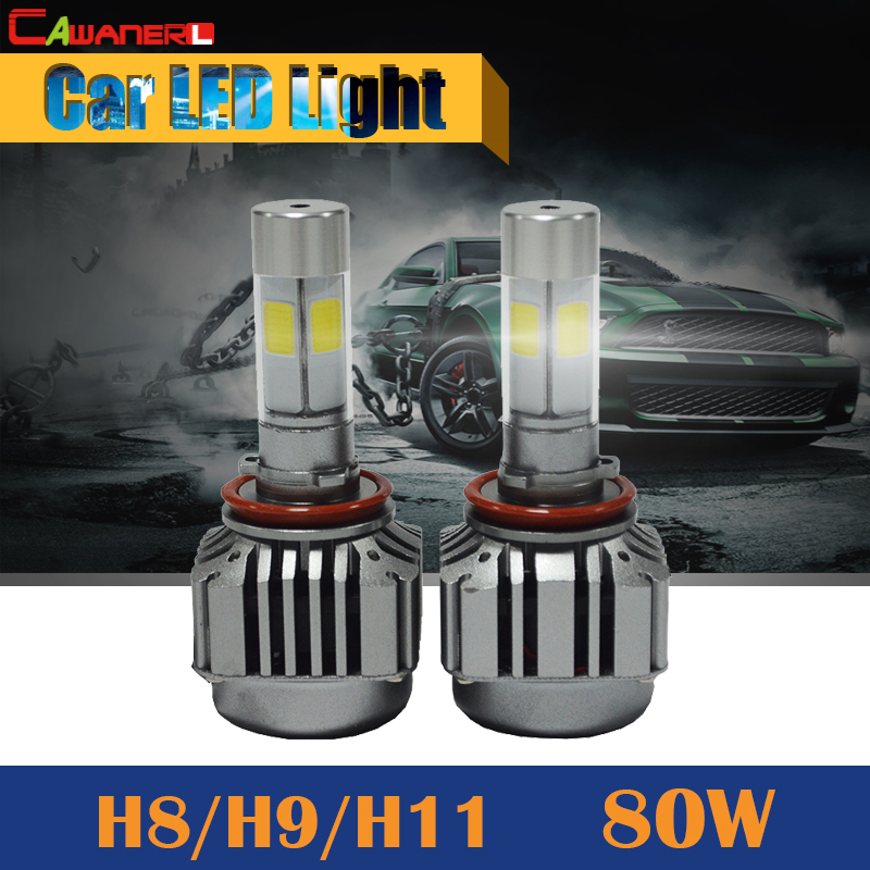 Cawanerl H8 H9 H11 80W 8000LM LED Bulb 6000K White Replacement Car Fog Light Headlight DRL Daytime Running Lamp cawanerl 1 pair 100w h3 car led bulb 20 smd 2200lm white 6000k automotive fog light daytime running lamp headlight low beam drl