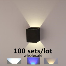 100sets/lot 3W AC85-265V Surface Mounted LED Wall Light Modern Nordic Luminaire Indoor Wall Lamps Living Room Porch Outdoor