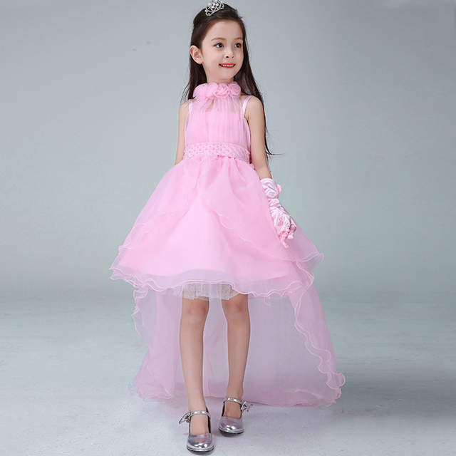 Girls Dress Summer Kids Party Dress Long Tailing Girls Clothes Elegant  Evening Flower Girl Dress Kids 8bbdc27c4215