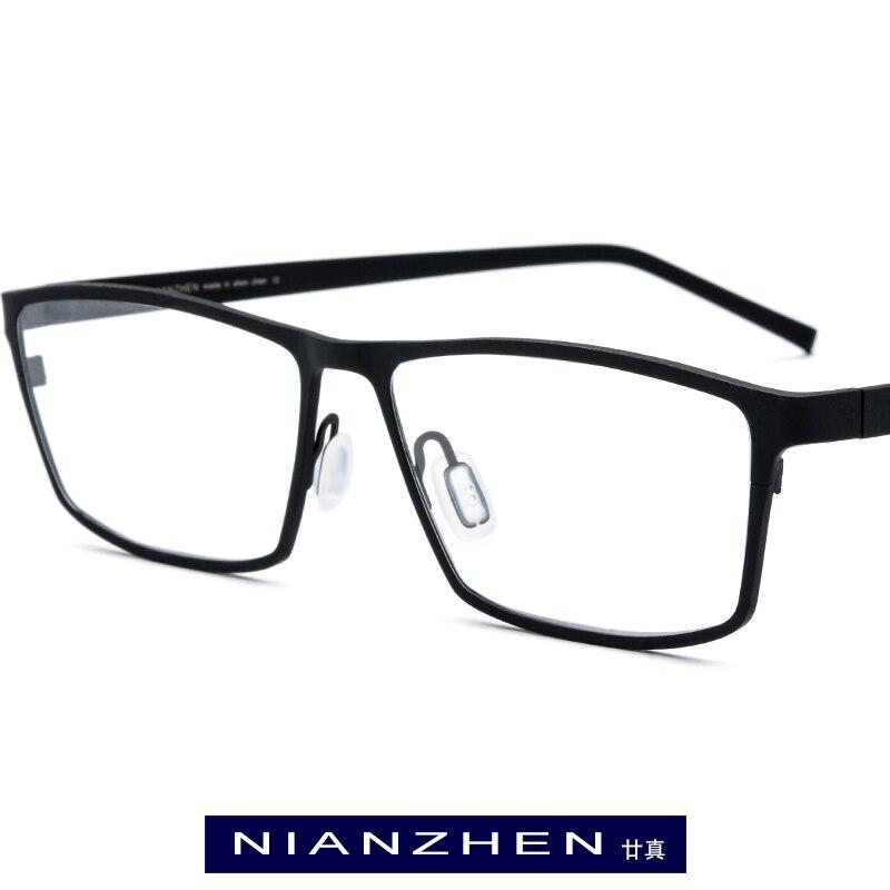 Pure Titanium Eyeglasses Frame Men Square Myopia Optical Frames Eye Glasses for Men Vintage Ultra Light