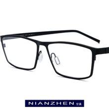 순수 티타늄 안경 프레임 남자 광장 근시 광학 프레임 안경 안경 빈티지 울트라 라이트 안경 안경 1170