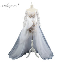 Leeymon Fashion Short Lace Beach Wedding Dress With Detachable Train Elegant Bridal Dress Boho Wedding Dress SW09