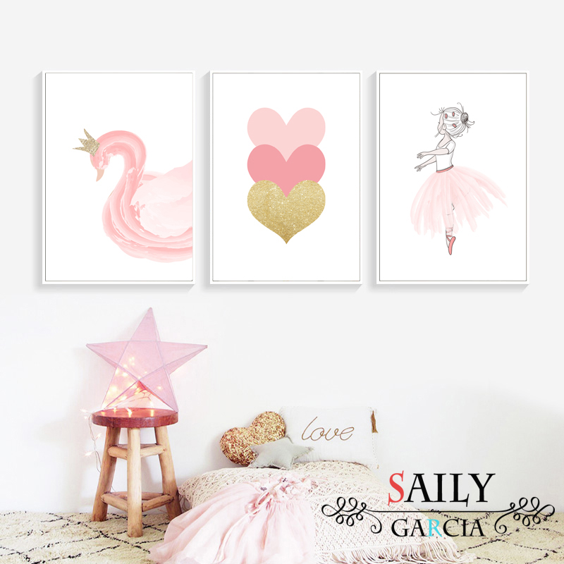 Nordic Style Kids Decoration Ballet Poster Pink Swan Wall Art Canvas Painting Posters And Prints Baby Girl Room Decor No Framed