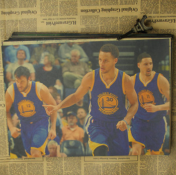 Figure NBA basketball star Stephen curry poster warriors retro photo wall stickers decorative painting paper 1
