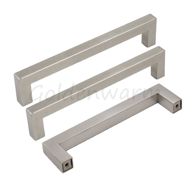 5 10 25 Cabinet Pull Square Drawer Handles Kitchen: Brushed Stainless Steel Silver Cabinet Handles Goldenwarm