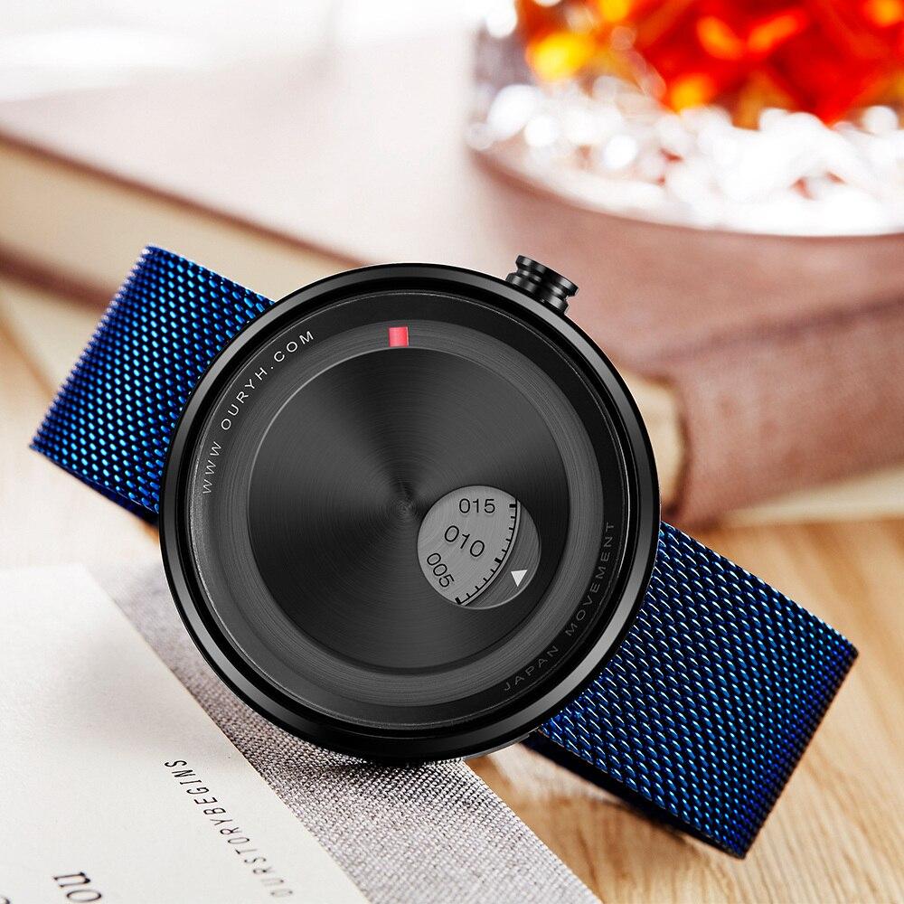 SINOBI 2018 Men's Creative Milan Strap Wrist Watches Relogio Watch Rotate Dial Plate Wrist Free Shipping Relogio Masculino