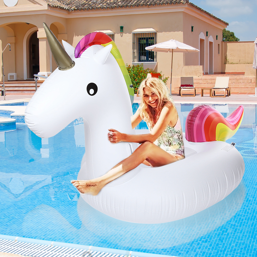 2016 Summer Giant Uppblåsbara Unicorn Air Soffa Luftmadrasser Ride-capable Floating Swimming Pool Toy Float Raft För Beach Holiday