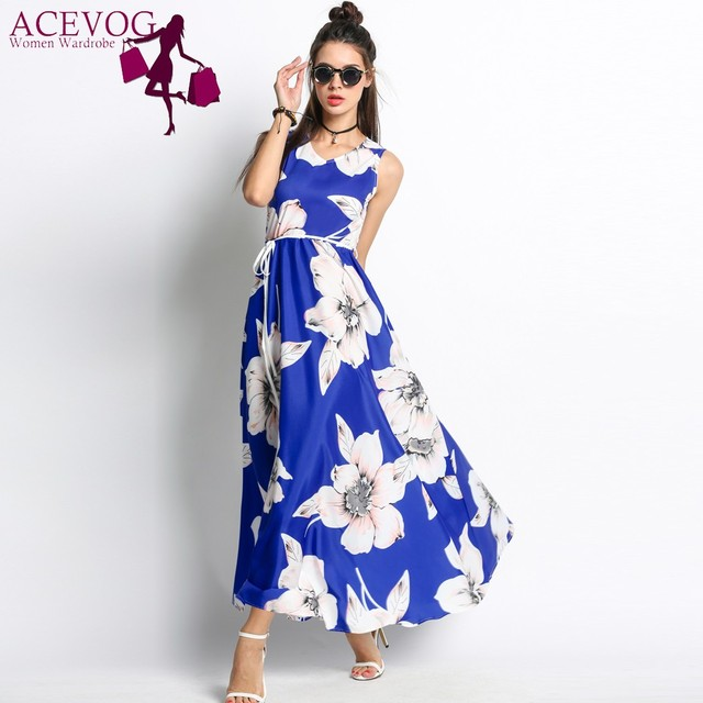 f219ab2d6e9 ACEVOG Floral Print Vintage Big Long Swing Dress Women V-Neck High Waist  Sleeveless Dresses Party Maxi Vestidos Retro 60s Robe