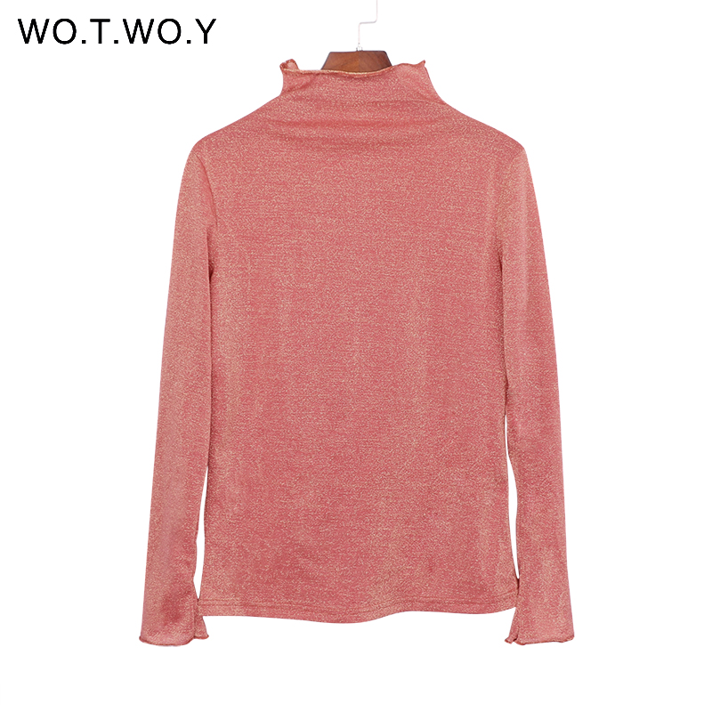 wotwoy sequins turtleneck long sleeve tshirt women shiny ruffles casual mesh tops t shirt femme. Black Bedroom Furniture Sets. Home Design Ideas