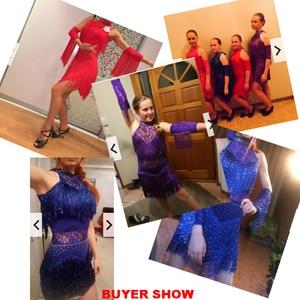 Image 5 - 5 farben Shiny Explosion Latin Dance Kostüm Frauen Fringe Kleid Latin Wettbewerb Kostüme Bühne Tragen Latin Dancewear Salsa Kleid