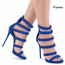 Aiyoway 2019 Women Shoes Peep Toe High Heels Sandals Strappy Cover Heel Zip Up Spring Summer Ladies Clubwear Party Blue