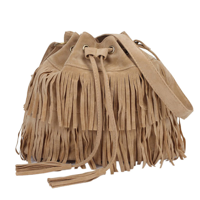 2017 Retro Faux Suede Fringe Women Bag Messenger Bags New Handbag Tassel Shoulder Handbags Drawstring Crossbody Gift Female