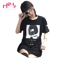 Harajuku Japanese Cartoon Printting Illustrations Short Sleeves T Shirt White Tee Kawaii Cute Student Girl Wear