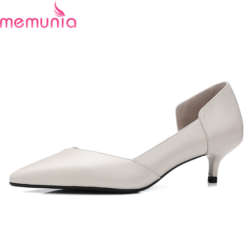 MEMUNIA spring autumn high quality genuine elather dress shoes med heel pointed toe comfortable solid ladies shoes memunia spring autumn popular genuine