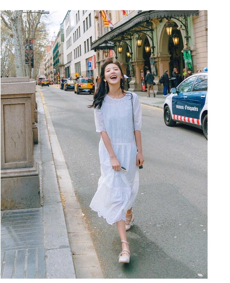 Vestido largo bonito blanco de verano 2018 para mujer-in Vestidos from Ropa de mujer    2