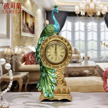 The peacock room living room clock watch clock desktop decoration gift wedding celebration resin