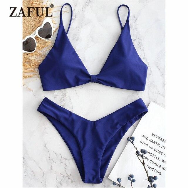 69e93d10832fd ZAFUL Knotted Bikini Low Rise Cami Swimwear Women High Cut Swimsuit Sexy Spaghetti  Straps Low Waist Padded Bathing Suit Biquni