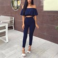 Off Shoulder Jumpsuit Rompers Women Slash Neck Short Sleeve Crop Top Slim Style Skinny 2 Pieces Jumpsuits HT