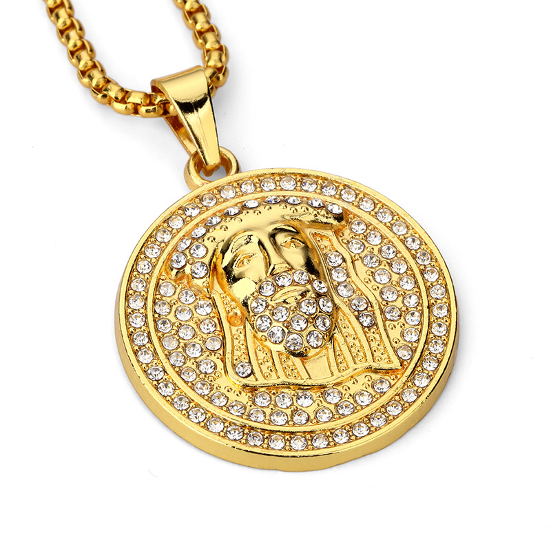 Fashion Male Jesus Pendant Necklaces Style Gold Plated Chains Hip Hop Costume Jewelry Filling Pieces Women