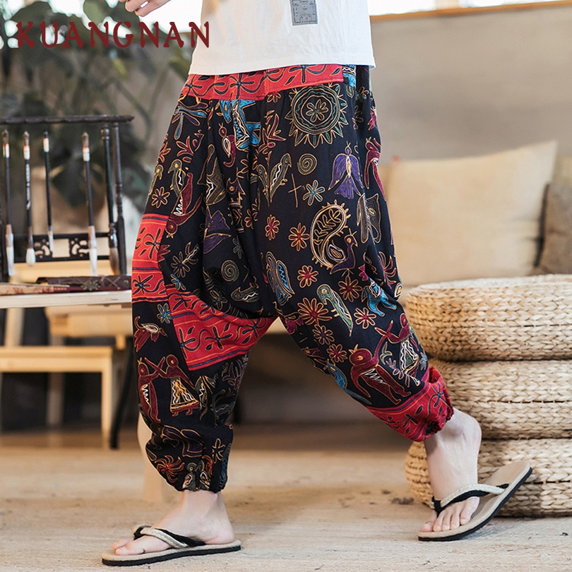 KUANGNAN algodón Lino Pantalón ancho pantalones hombres Joggers Hip Hop Harem pantalones hombres Streetwear Pantalones hombres Pantalones Casual 2018