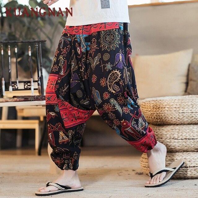 KUANGNAN 綿リネンワイド脚パンツ男性ジョギングヒップホップハーレムパンツ男性ストリートスウェットパンツズボン男性パンツカジュアル 2018