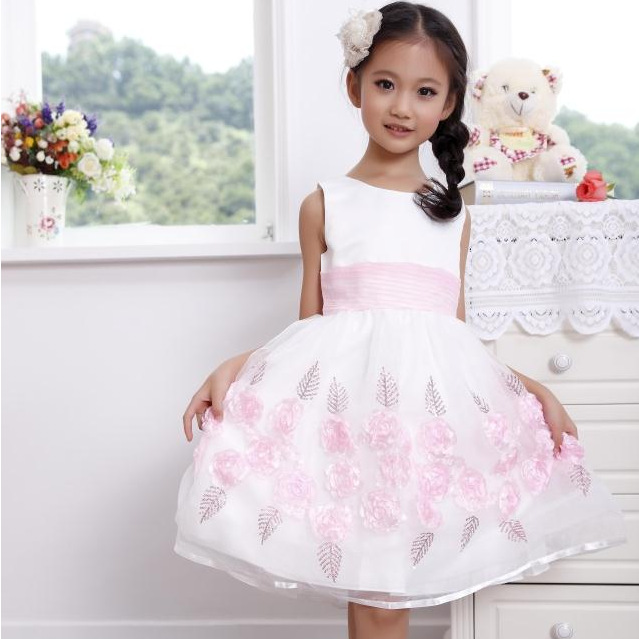 Free Shipping 2016 New Arrival Korean Fashion Hot Sale Children Girls Sleeveless Flower Dress Girls vest princess chiffon dress free shipping new arrival 2015 fashion summer baby girl lovely flower sleeveless bowknot round neck party dress hot sale