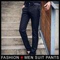 Alta qualidade vestido Formal calças Stretch reta Slim fit calças masculino magro calças para homem