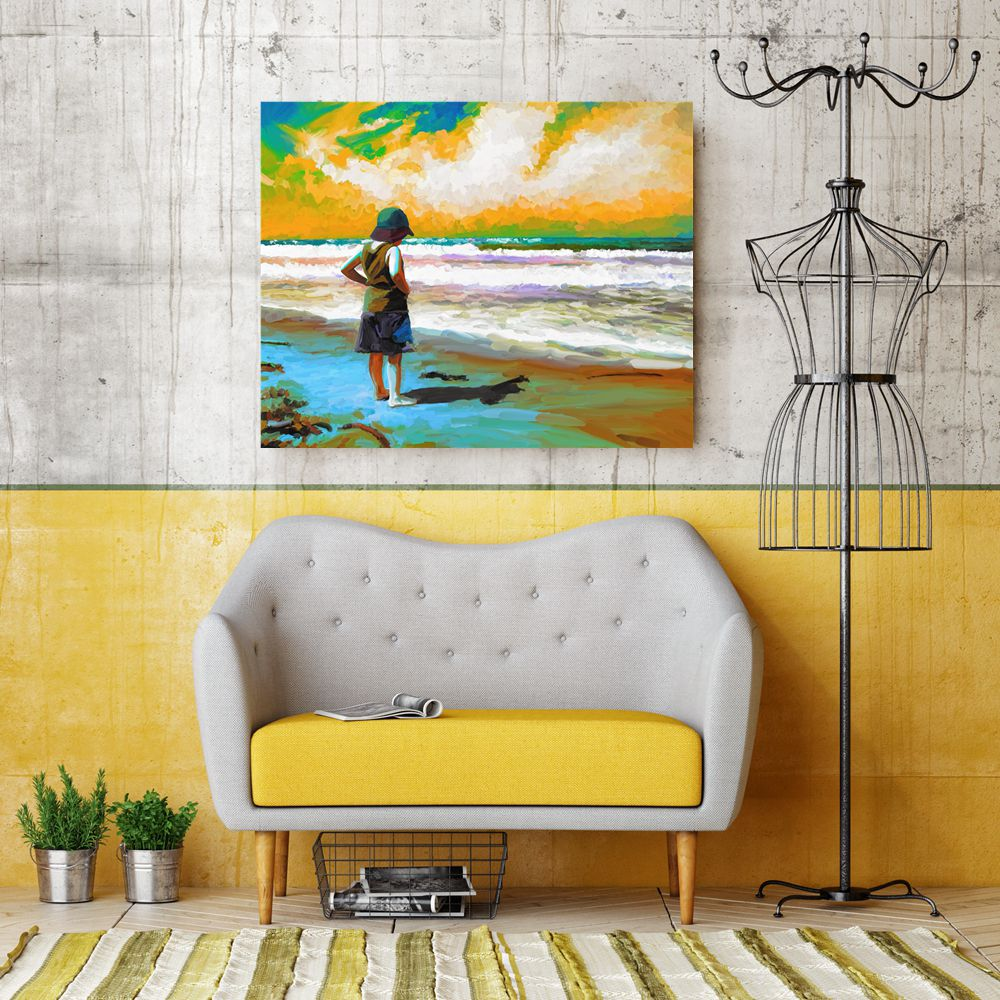 Oil Painting Canvas Print A Little Girl Stood by the Sea Sunset ...