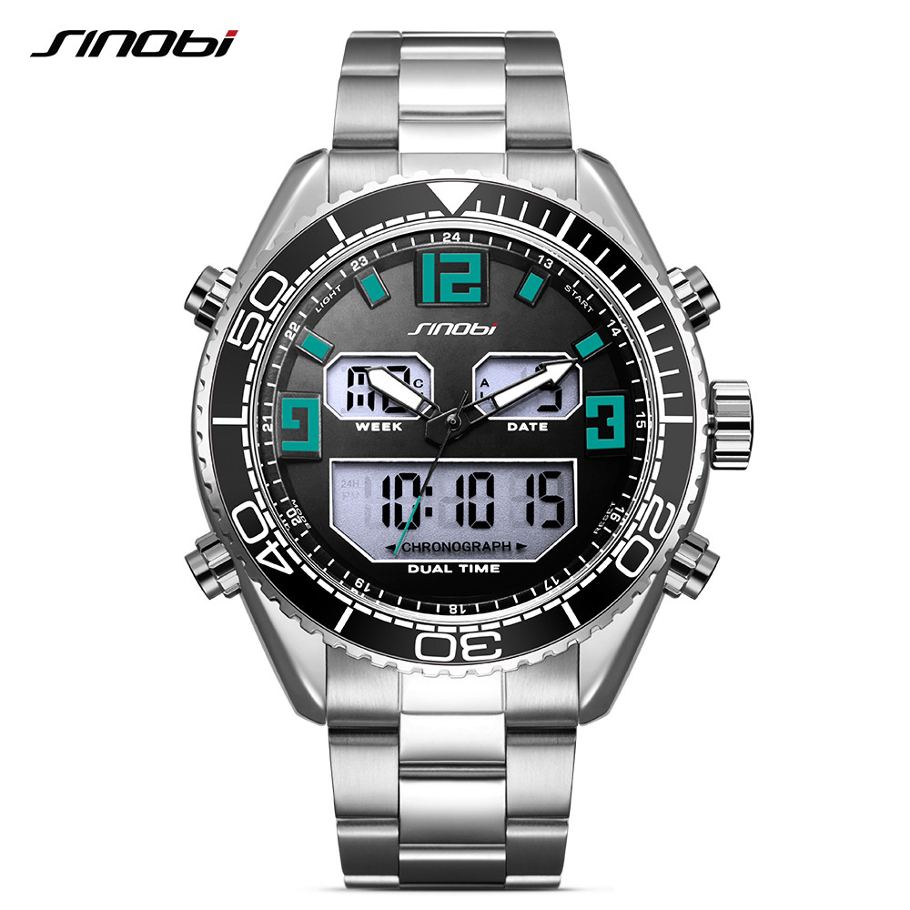 Sinobi Men 'S Analog Digital Steel Quartz Watch Waterproof 24 Hour Date Wrist Watch Fashion Sports Clock Relogios sinobi 1850 men alloy analog quartz watch