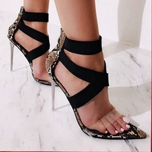 sandals high heels shoes woman summer gladiator clear heels Pointed snake print 2019 luxury silver prom shoes big size rome part two part clear block heels