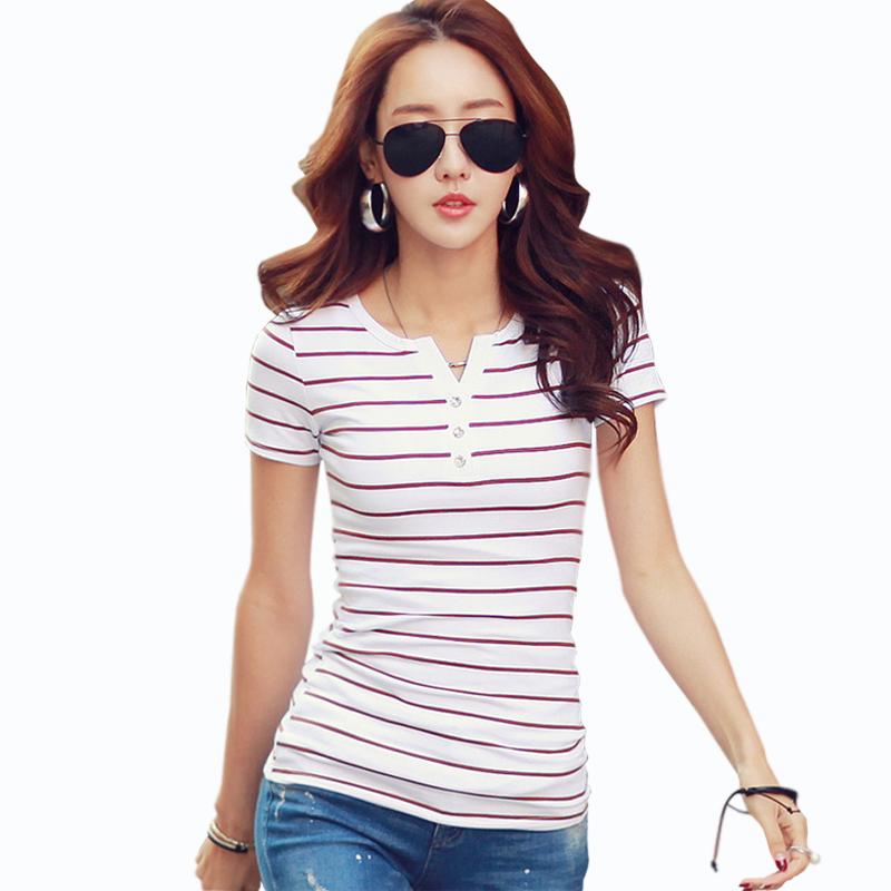T Shirt femme 2018 Summer Striped T Shirts Button V Neck Short Sleeve Womens Clothing Female