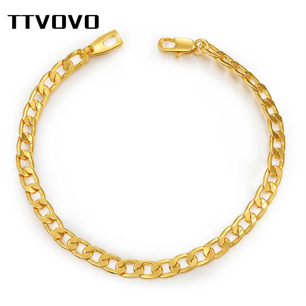 TTVOVO Gold Filled Cuban Link Chain Bracelet Hip Hop Jewelry 5MM Wide 21CM Curb Chain Bracelets for Men Women Accessories Gifts