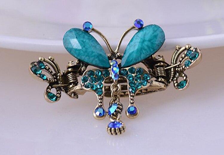 HTB1Zd7QMXXXXXczXVXXq6xXFXXXy Vintage Women Turquoise Butterfly Flower Hair Barrette With Rhinestone Crystals - 5 Colors