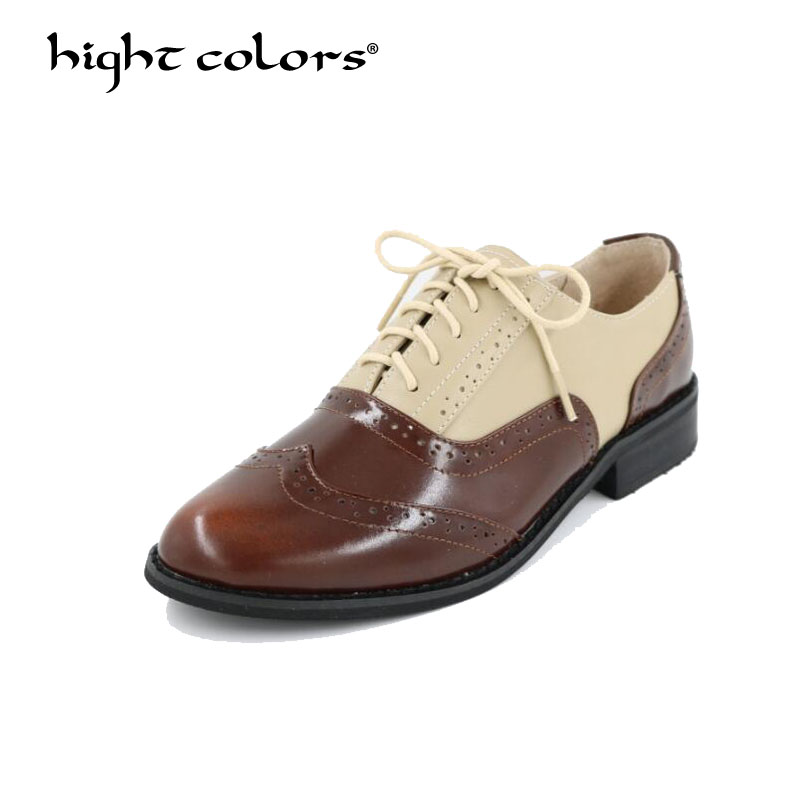 HIGHT COLORS Vintage British Style Oxford Shoes For women Genuine leather flat shoes women US 12 handmade Black leather Shoes original handmade autumn women genuine leather shoes cowhide loafers real skin shoes folk style ladies flat shoes for mom sapato