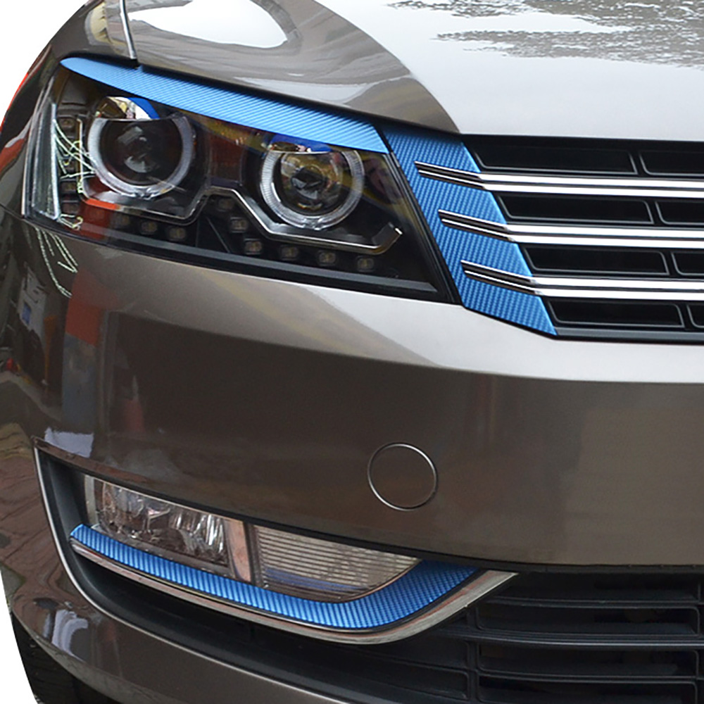 6PCS/Set Carbon Fiber Grille Hood Protection Film Car Stickers And Decals Car-styling For VW Volkswagen Passat B7 Accessories epr car styling for nissan skyline r33 gtr type 2 carbon fiber hood bonnet lip