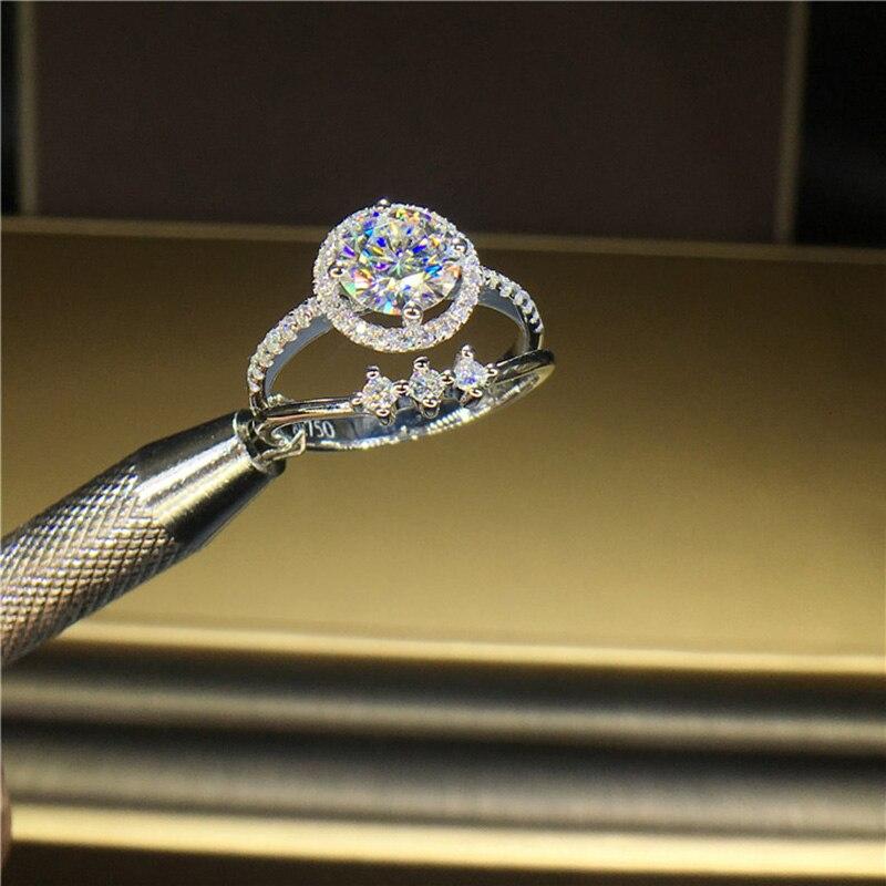 100% 18K 750Au الذهب المويسانتي خاتم الماس D اللون VVS مع شهادة الوطني مو 00105-في خواتم من الإكسسوارات والجواهر على  مجموعة 2