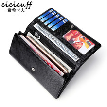 купить CICICUFF Brand 2019 New Genuine Leather Women Wallets Coin Purse Female Long Card Holder Lady Clutch Wallet with Phone Pockets дешево