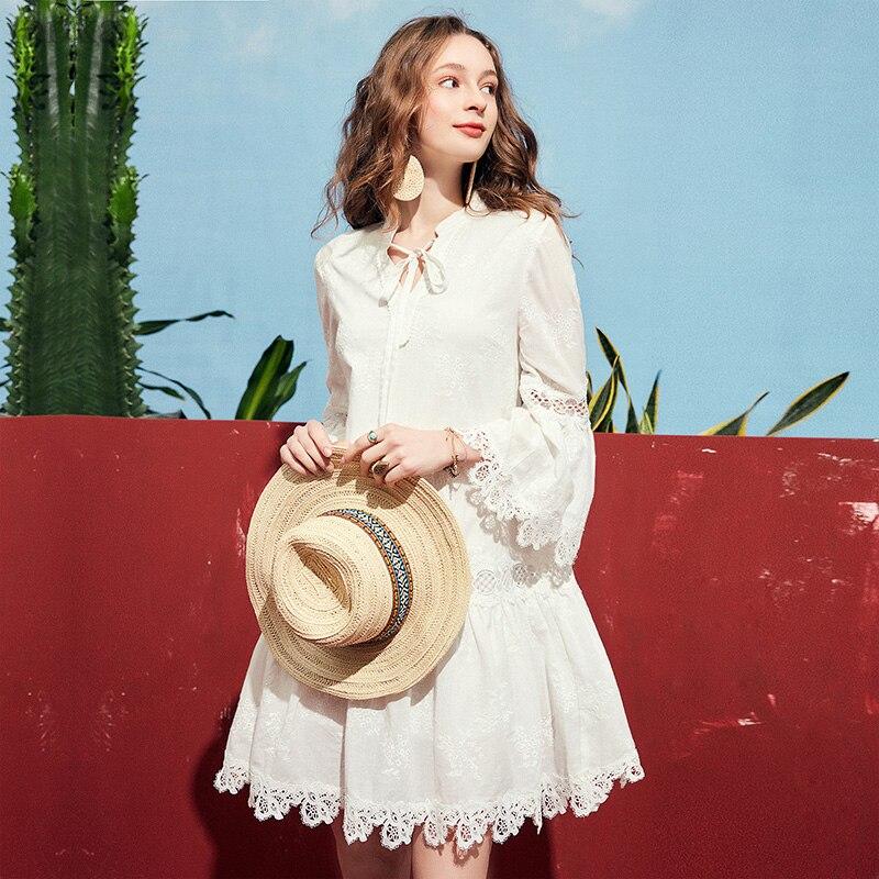 ARTKA 2019 Spring Lace Cotton Fashion Dress For Women Bow Collar Long Sleeve White Princess Dress