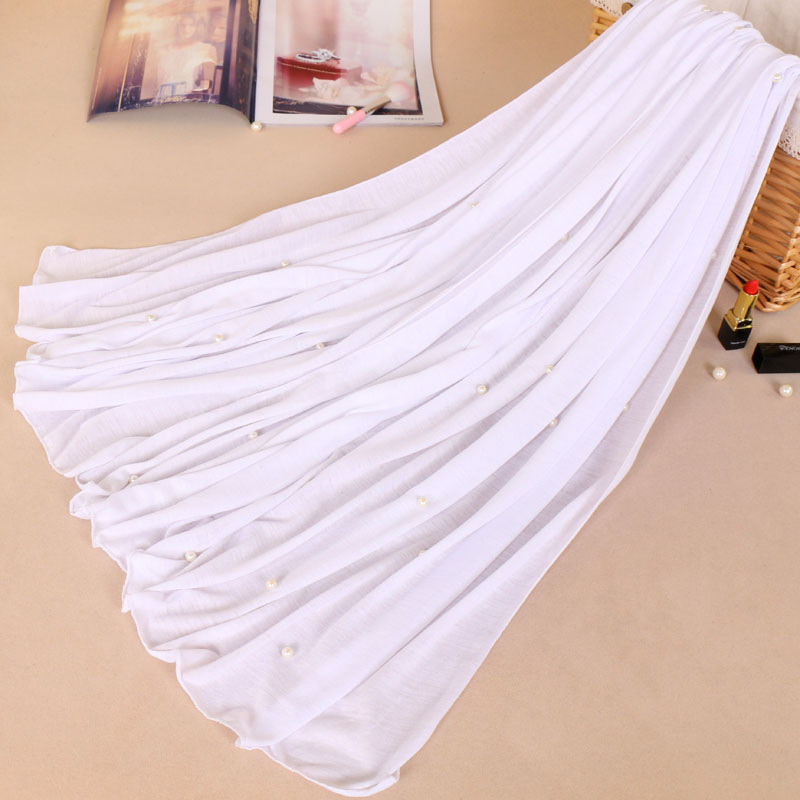 Woman Maxi Plain Pearl Beads Jersey Hijab Scarf Polyester Cotton Shawl Snood Muslim Sjaal Head Wrap