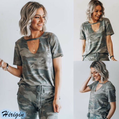 Summer Women Casual T-shirts 2019 New Camouflage Short Sleeve V-Neck Loose T-Shirts